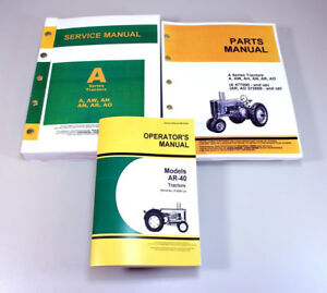 Service Manual Set For John Deere Ar 40 Ar40 Tractor Parts Owners Operator