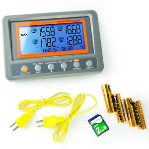 4 Channels K type Thermocouple Thermometer Sd Card Logger High Low Alarm