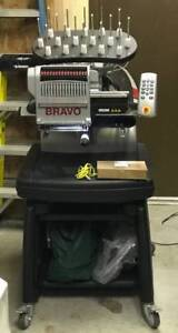 Melco Amaya Bravo 16 Thread Commercial Embroidery Machine With Stand