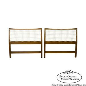 Mid Century Modern Pair Of Woven Vinyl Cord Back Twin Headboards