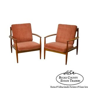 Arne Vodder France Daverkosen Danish Modern Pair Of Teak Lounge Chairs