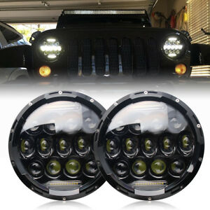 Pair 7inch Headlight Round Car Lamp Hi Lo White Light Fit For Vw Beetle Classic