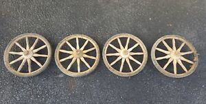 Antique Set Of 4 11 Wood 10 Wooden Spoke Carriage Buggy Car Wagon Cart Wheels