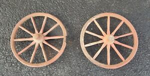 Antique 2 Pair 12 Red Wood 10 Wooden Spoke Carriage Buggy Car Wagon Cart Wheels