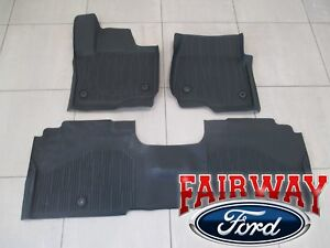 18 Thru 19 Expedition Oem Ford Tray Style Molded Rubber Tray Floor Mat Set 4 Pc