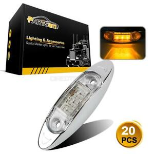 20x Clear amber 3 Led Side Marker Lights Clearance Truck Trailer Oval Chrome