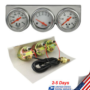 From Us Universal Auto 50mm Chrome Oil Pressure Water Volt Triple 3gauge Set Kit