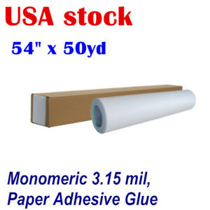 Usa Stock 54 X 50yd Roll Glossy Cold Laminating Film Paper Adhesive Glue