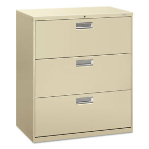 Hon 600 Series Three drawer Lateral File 36w X 19 1 4d Putty 683ll