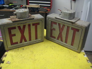 Vintage Industrial Metal Exit Signs Two Sided Red Glass Ceiling Mount