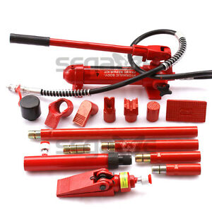 4t Porta Power Hydraulic Jack Body Frame Repair Kit Auto Shop Tool Heavy Set