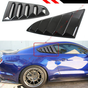 For 15 2020 Mustang Carbon Fiber Look Rear Window 1 4 Quarter Scoop Louver Cover