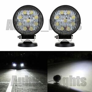 1pair 9 Led 4 5 27w Work Light Flood Round Lamps Offroad For Suv Truck Jeep Atv