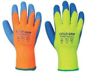 Portwest A145 Cold Grip Safety Working Gloves Latex 6 12 24 48 Pairs