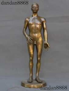 Old Chinese Bronze Antique Human Man Body Model Acupuncture Point Props Statue