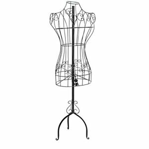 Metal Wire Dress Form Female Mannequin Adjustable Height Clothing Display Stand