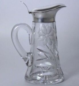 American Brilliant Flower Period And Sterling Silver Pitcher Creamer Syrup