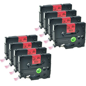 8 Pk Fit For Brother Tz 421 Tze 421 Black On Red Tape Pt18r P touch Label Maker