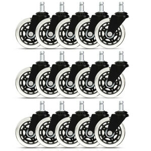 15x Heavy Duty Office Chair 3 Caster Wheels Swivel Rubber Wood Floor Furniture