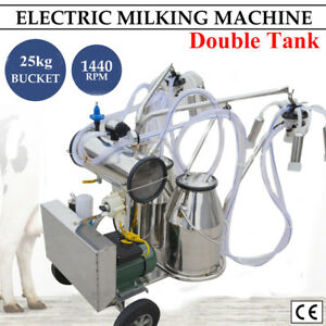 double Tank milker Electric Milking Machine Milker Vacuum Pump Cow Cattle Farm