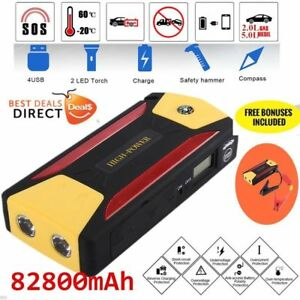 82800mah Car Jump Start Portable Charger Booster Power Bank Battery Led Torch Q