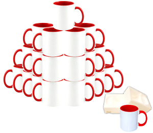 36 piece Double Sublimation Coated Ceramic Mugs 11 Oz Blank White And Blank Red
