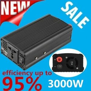 3000w 4000 Watt Peak Power Inverter Dc 12v To Ac 110v For Car Truck Rv Pickup Q