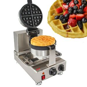 Commercial Use Nonstick 110v Electric 180 Rotating Belgium Waffle Baker