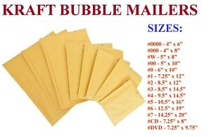 5 3000 Kraft Bubble Padded Envelope Mailers 000 00 0 cd 1 2 3 4 5 6 7