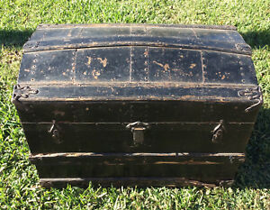 Antique Travel Trunk Storage Trunk Black With Barrel Top Very Old Good Cond