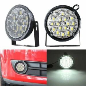 2pcs 12v 18led Drl Round Car Fog Lamp Driving Daytime Running Light Bright M
