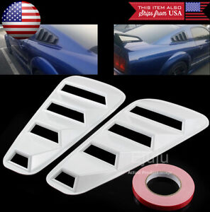 White Rear 1 4 Quarter Side Window Cover Louver Scoop Vent For 05 14 Mustang