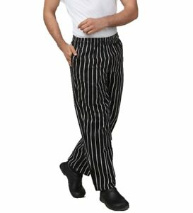 Jxh Chef Uniforms Men s Black And White Striped Cotton Chef Pants With Elastic