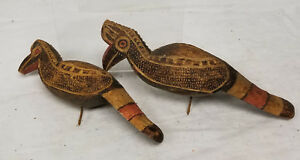 Antique Vintage African Carved Bird Figures Tourist 20th Century Painted