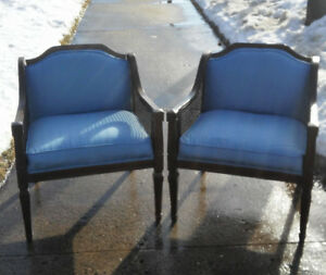 Pair Vintage Caneback Upholstered Chairs