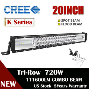20inch 720w Tri row Led Work Light Bar Spot Flood Super White Driving Lamps