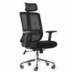 Cctro Mesh Ergonomic Office Chair With Adjustable Headrest And Padded Flexible