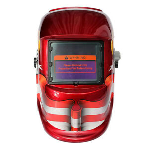 Auto Darkening Welding Helmet Mask Uv ir Filter Shade Red Eagle Pattern C