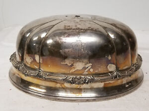 Antique English Sheffield Silver Plate Meat Cover Engraved Crest Coat Of Arms
