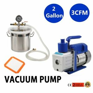 2 Gallon Vacuum Chamber 3 Cfm Single Stage Pump Kit For Degassing Silicones Vp