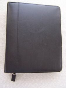 Franklin Covey Quest Classic Black Leather Planner Full Zipper 7 Ring W Inserts