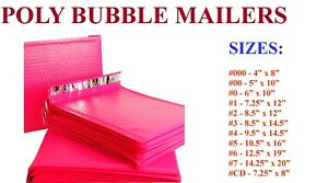 5 3000 Poly Bubble Mailers 000 00 0 cd 1 2 3 4 5 6 7 Hot Pink Bags