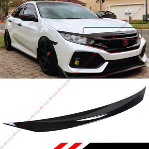 For 2016 2018 Honda Civic Si Gloss Black Front Hood Bumper Upper Trim Nose Cover
