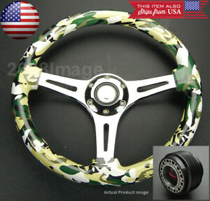 13 8 Green Camouflage Chrome Spoke Steering Wheel W Hub For Delsol Integra