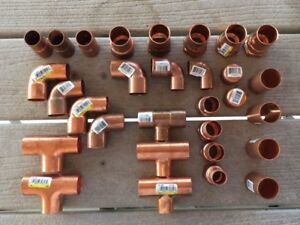 Brand New 1 3 4 Inch Copper Solder Sweat Fittings Tees 90s Couplings