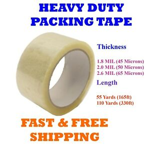 2 Heavy Duty Clear Packing Tape Packaging Carton Box Moving Shipping Tape Gun