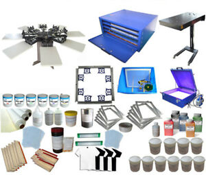 Silk Screen Printing Kit 8 Color Press Equipment Dryer Exposure Full Print Need