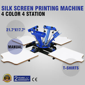 4 Color 4 Station Silk Screen Printing Kit Press Equipment Pressing Diy Machine