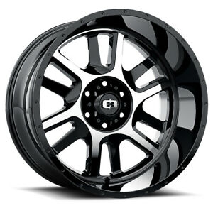 Vision Split Rim 22x12 5x5 5 Offset 51 Gloss Black Machined Face Qty Of 1