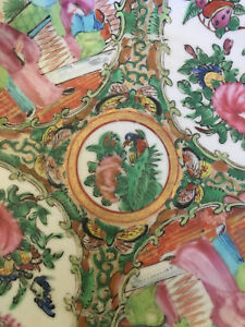 Chinese Export Canton Rose Medallion Mandarin Plate Qing Dynasty 1850 1870